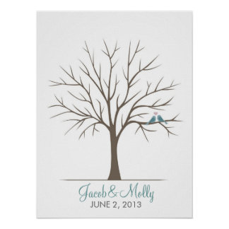 Árvore da impressão digital do casamento - pássaro