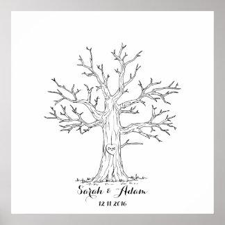 Árvore da impressão digital do casamento - um