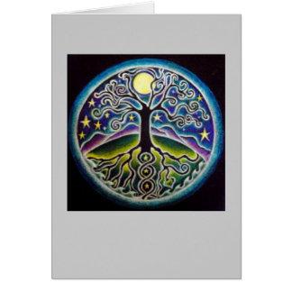 Árvore da Lua cheia da dança do cartão da mandala