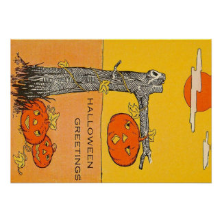 Árvore da Lua cheia da lanterna de Jack O Poster