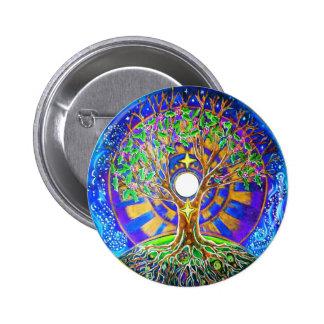 Árvore da Lua cheia do botão da mandala da vida Bóton Redondo 5.08cm