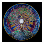 Árvore da Lua cheia do poster da mandala da vida Pôster