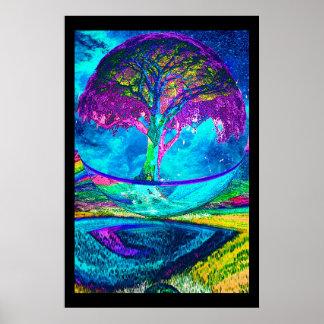 Árvore da meditação da vida pôster