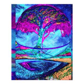 Árvore da meditação de vida no roxo panfletos personalizados