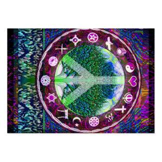 Árvore da paz das religiões do mundo da mandala da cartão de visita grande