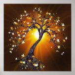Árvore da queda do outono no por do sol impressão