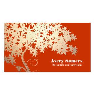 Árvore da saúde da vida e da natureza da laranja cartão de visita
