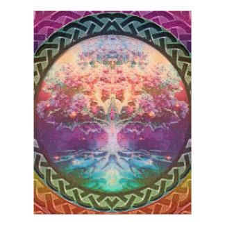 Árvore da tranquilidade de vida em cores do arco-í panfletos coloridos