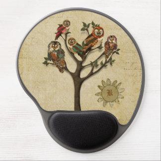 Árvore das corujas Monogramed Mousepad Mouse Pad De Gel