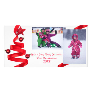 Árvore de fita vermelha com fotos - cartões de cartão com foto