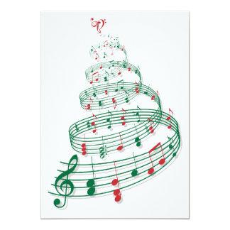Árvore de Natal abstrata com notas da música Convite 12.7 X 17.78cm