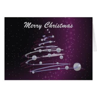 Árvore de Natal abstrata no cartão roxo