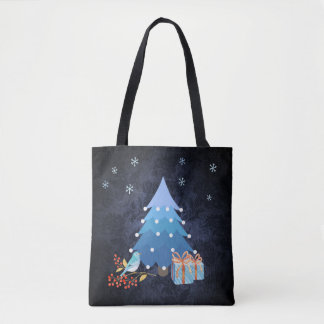 Árvore de Natal azul de Ombre com presentes Bolsa Tote