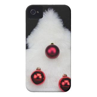 Árvore de Natal branca da pele isolada no preto Capa Para iPhone 4 Case-Mate