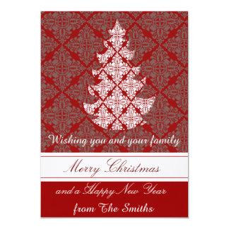 Árvore de Natal clássica do damasco de Groupon Convite 12.7 X 17.78cm
