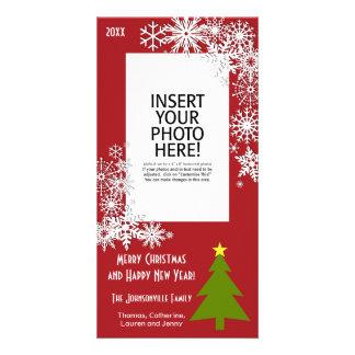 Árvore de Natal com flocos de neve Cartoes Com Foto Personalizados
