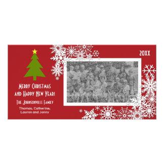 Árvore de Natal com flocos de neve Cartao Com Fotos