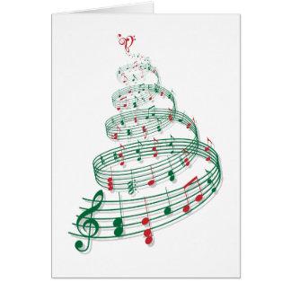 Árvore de Natal com notas da música Cartão Comemorativo