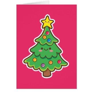 Árvore de Natal de Kawaii Cartão Comemorativo