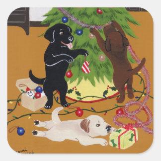 Árvore de Natal de labrador retriever Adesivo Quadrado