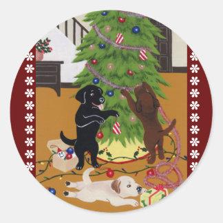 Árvore de Natal de labrador retriever Adesivo Redondo