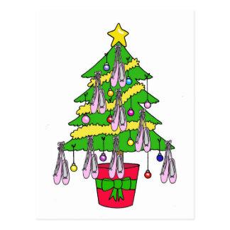Árvore de Natal decorada com sapatas de balé Cartão Postal