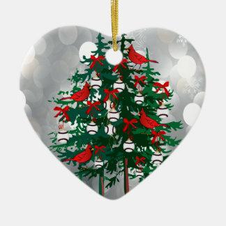 Árvore de Natal do basebol com pássaros vermelhos Ornamento De Cerâmica Coração