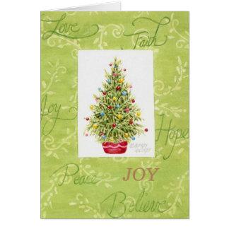Árvore de Natal do cartão do Natal no pote