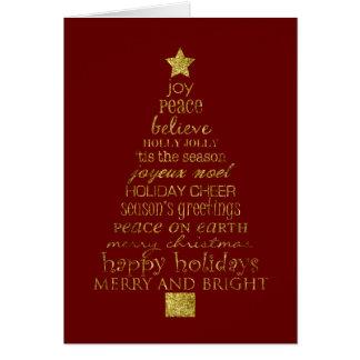 Árvore de Natal do ouro Cartão Comemorativo