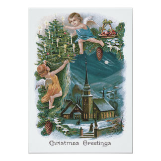Árvore de Natal do querubim do anjo da igreja Convite 12.7 X 17.78cm