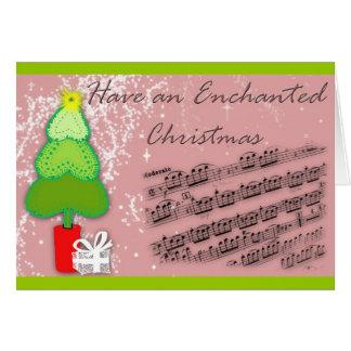 Árvore de Natal e cartão da música