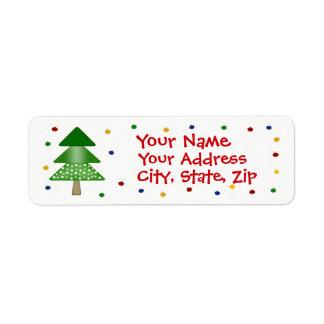 Árvore de Natal e etiqueta de endereço do