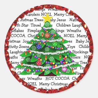 Árvore de Natal e etiquetas do feriado dos