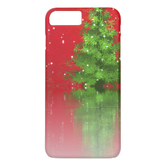 Árvore de Natal em uma capa de telefone vermelha