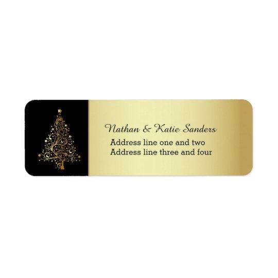 Árvore de Natal ornamentado do ouro Etiqueta Endereço De Retorno