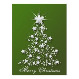 Árvore de Natal Sparkling estrelado Cartão Postal