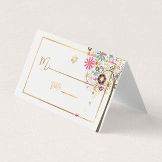 Árvore de PixDezines de vida+Floral+Ouro do falso Cartão De Mesa