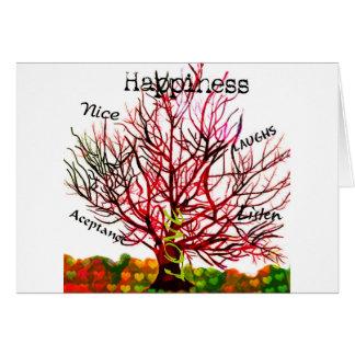 Árvore de regras do amor para a felicidade cartão comemorativo
