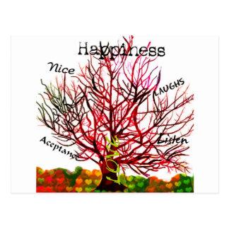 Árvore de regras do amor para a felicidade cartão postal