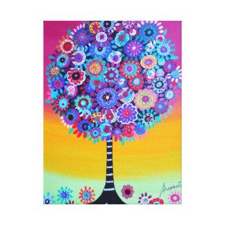 Árvore de vida abstrata impressão de canvas envolvidas