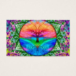Árvore de vida de acalmação em cores do arco-íris cartão de visitas