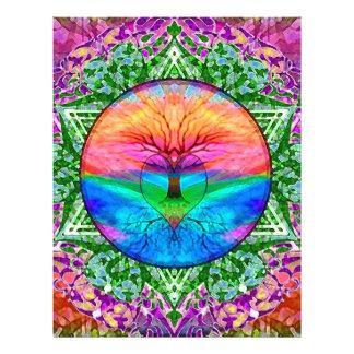 Árvore de vida de acalmação em cores do arco-íris flyer 21.59 x 27.94cm