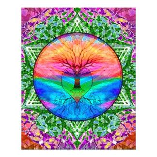 Árvore de vida de acalmação em cores do arco-íris panfleto coloridos