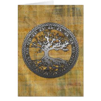 Árvore de vida de prata cartoes