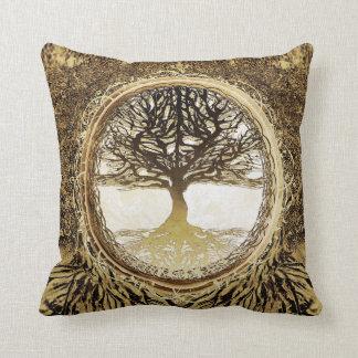 Árvore de vida em Brown Almofada