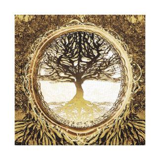 Árvore de vida em Brown Impressão Em Tela