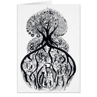 ÁRVORE de VIDA - preto & branco Cartão