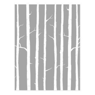 Árvore de vidoeiro cinzento e branco cartão postal