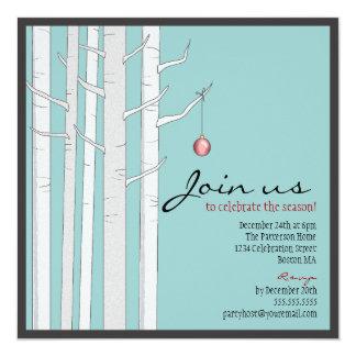 Árvore de vidoeiro da festa natalícia & convite convite quadrado 13.35 x 13.35cm