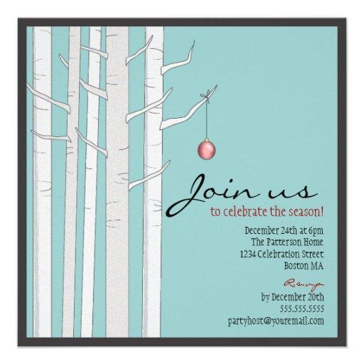 Árvore de vidoeiro da festa natalícia & convite ve
